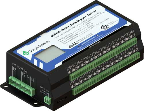 eGauge pro energy meter hardware with 30 sensor input                 channels, 1-phase, split-phase, 3-phase voltage,                 dc voltage, ANSI C12.2, revenue grade accuracy, revenue                 grade meter, utility meter, submeter, renewable energy                 meter, HomePlug AV, Modbus TCP and Modbus RTU, BACnet IP,                 Enternet communicaton, with 60 year data logger